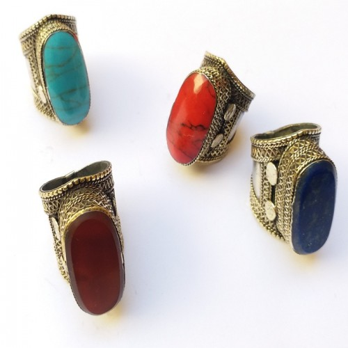Golden coated tribal silver ring with large gym stone-110