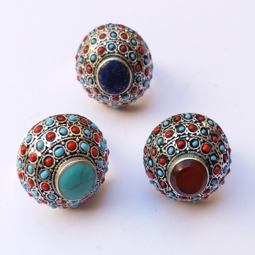 Afghan jewellery multi colour vintage top rings-1121