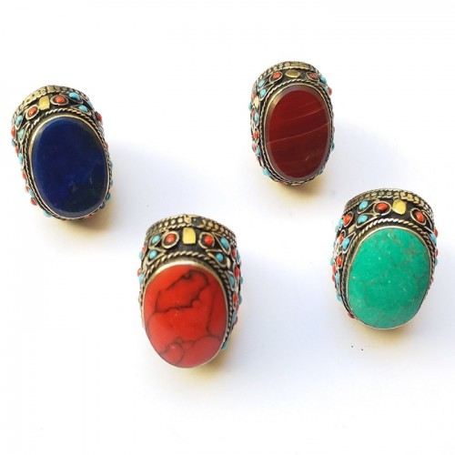 Afghan jewellery multi color vintage beaded ring-1122