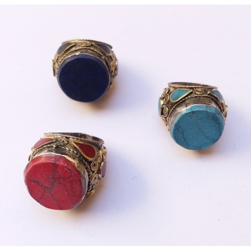 Afghani brass look golden plated Ring with red stones-181
