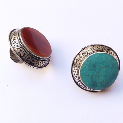 Afghan Vintage tribal Silver Ring with front stone-355