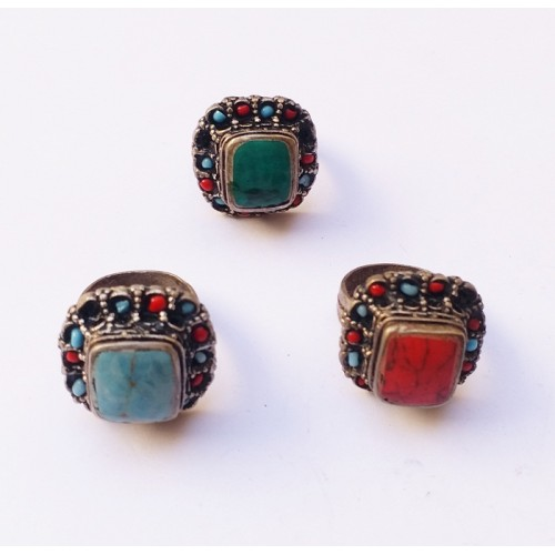 Antique tribal kuchi multicolor custome ring-356
