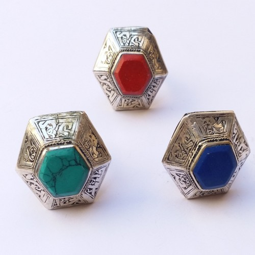 Afghan Tribal Hexagon Multicolor stone ring-368