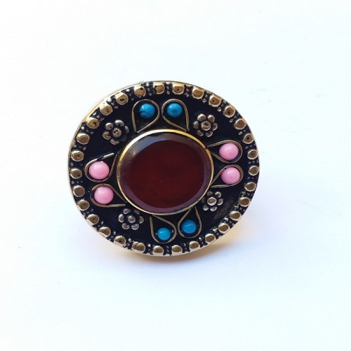 Tribal kuchi beaded ring with stone and pearls-403