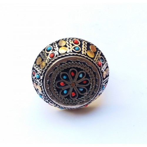 Antique afghan tribal beaded umbrella ring-617