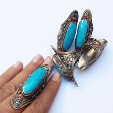 Afghan Tribal Antique Full finger turquoise Ring # 641