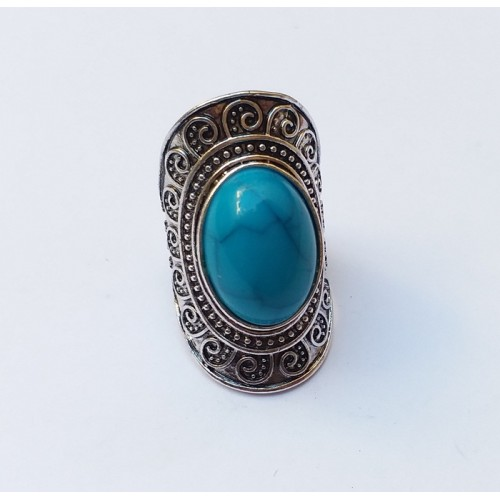 Antique silver Turquoise Ring for women-745