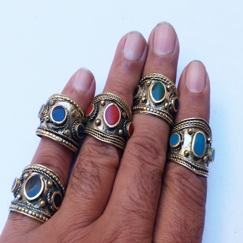 Brass look adjustable golden silver ring with single color stone-91