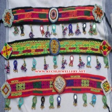 Afghan Vintage Cloth Beaded Keychain Belt # 218