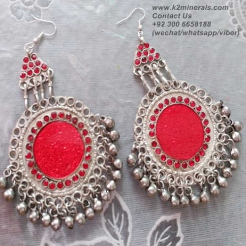 afghan tribal boho earrings-907