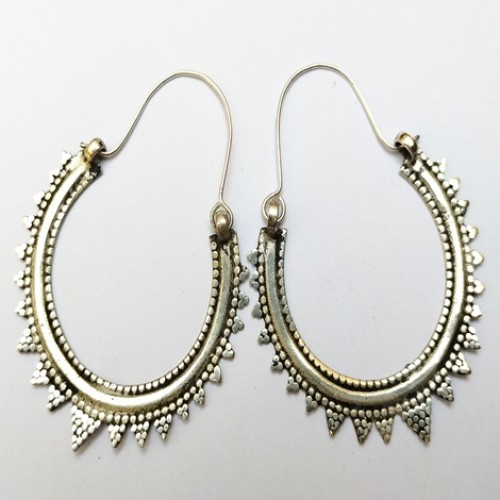Nomad Tribal Saw Shape Antique Earring-1119