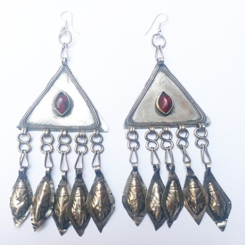 Vintage Turkmen Gold washed Silver Tribal Earrings with Red Glass-1129