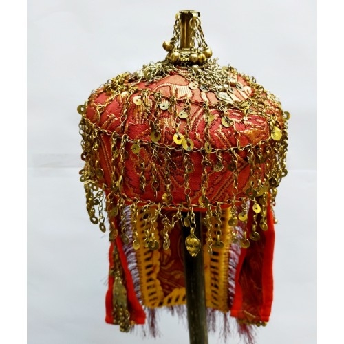 TURKMAN TRIBAL CEREMONIAL DECORATED HAT CENTRAL CAP-1166