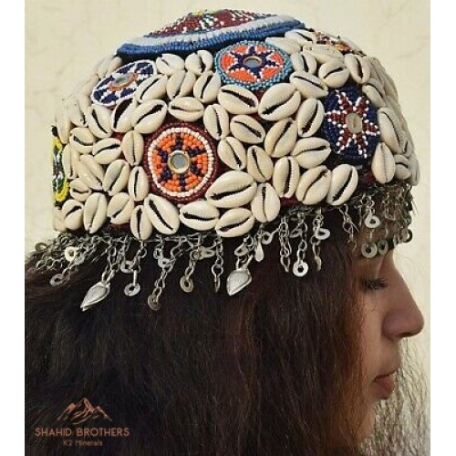 Antique Vintage Tribal Shall Bead Cap Hat # 1192