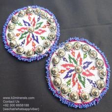 Afghan kuchi tribal medallion with Vintage Metal Button-680