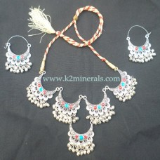 Afghani kuchi tribal necklace & earring-602