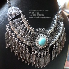 Antique vintage silver leaves necklace-760