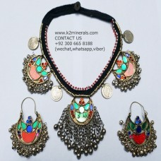 afghan tribal necklace with earring-985