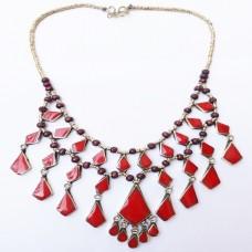 Belly dance vintage afghan Red necklace-1083