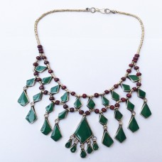 Vintage green afghan tribal kuchi Necklace-1084