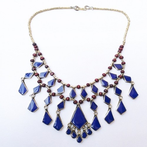 Choker afghan Lapis tribal necklace-1087