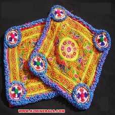 Vintage afghan tribal gypsy cloth patch # 11