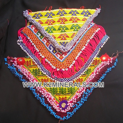 Vintage afghan tribal beaded patch # 142