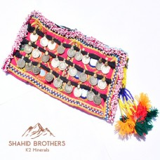 Afghan Embroidery Mirror Hand Clutch With Old Coins # 883