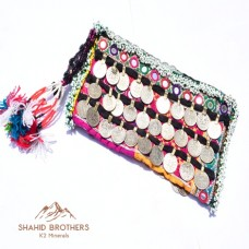 afghan embroidery mirror hand clutch # 884