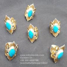 Turkmen style turquoise rings # 929