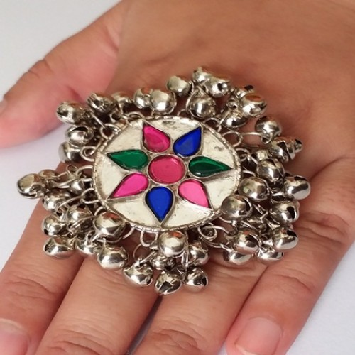 Afghan tribal white silver sun Ring with bells-1091