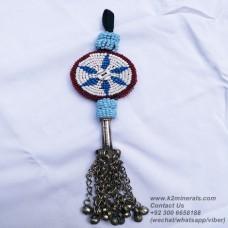Afghan Tribal Antique Beaded Vintage tassels-915